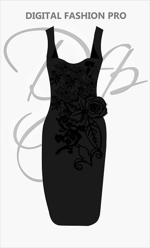 Black Strap Dress With Lace Embroidery - Digital Fashion Pro Clothing Fashion Design Software System