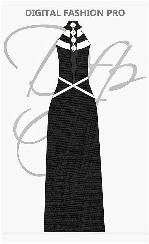Design Your Dress - Long Gown Black Dress - Digital Fashion Pro Clothing Fashion Design System