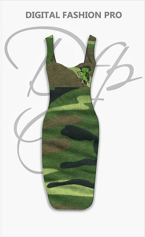 Design Your Own Strap Dress - Camo Dress - Digital Fashion Pro Clothing Fashion Design Software System