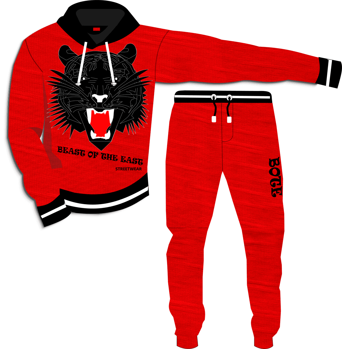 Fashion Sketch Gallery - fashion sketching app - clothing sketches - digital fashion pro - 1150 - red streetwear sweat shirt