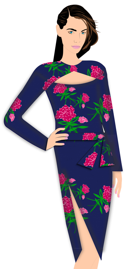 Red-Carpet---Metallic-Blue-Floral-Dress---F---design-your-own-clothing-line---fashion-software