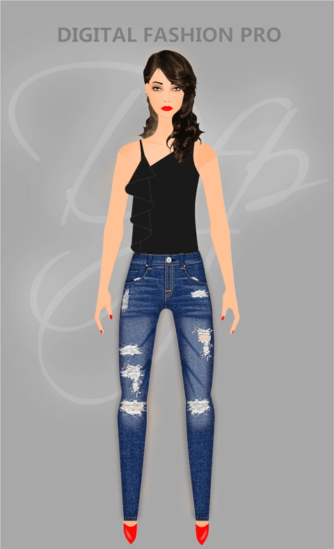 Clothing Design Software - Model wearing jeans and black blouse - design clothing