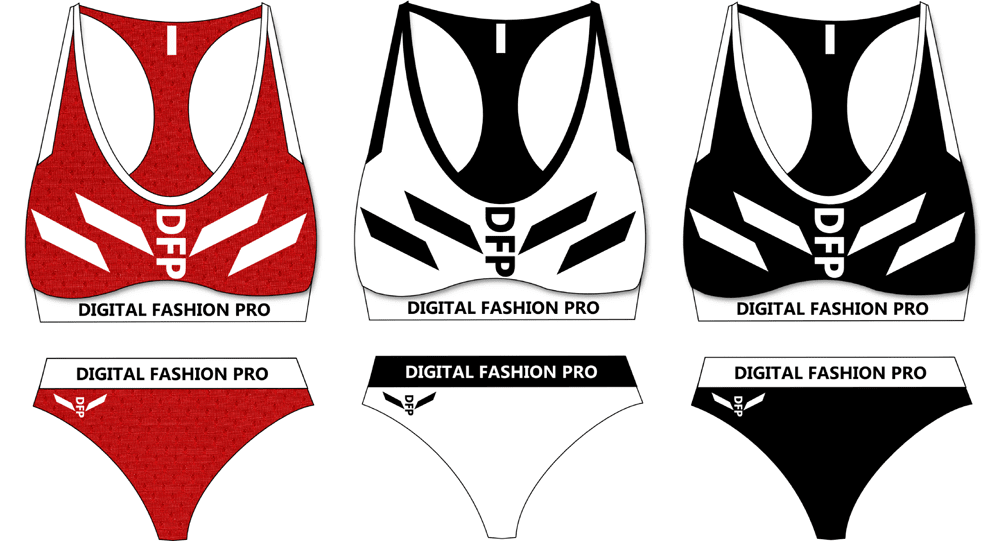 2 Piece Swimsuit Designs - Black Red White - design your own swimwear