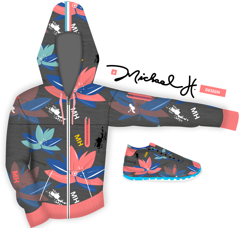 A Michael H Design - Floral Bomb Hoodie and Sneaker