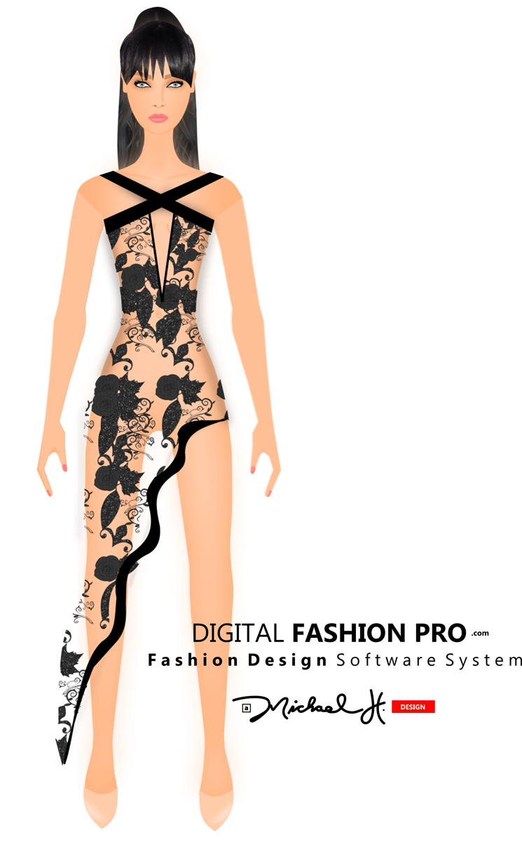 Black Sequins and Pink Dress - See Through Dress - fashion sketch