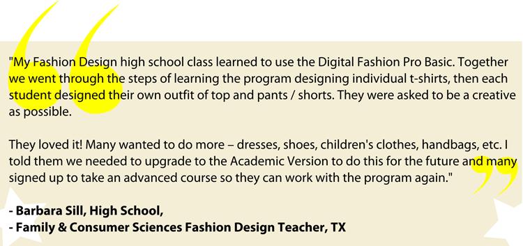 Fashion teachers using Digital Fashion Pro - fashion schools