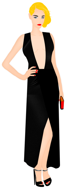 fashion sketch - red carpet - black dress